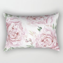 Coral Watercolor Roses Rectangular Pillow