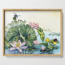 Japanese Water Lilies and Lotus Flowers Serving Tray