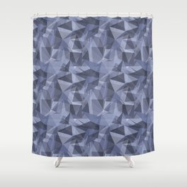 Ice: Abstract Polygon Blue and Purple Cubism Low Poly Triangle Design Shower Curtain