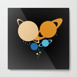 Solar System Heart (to scale) Metal Print