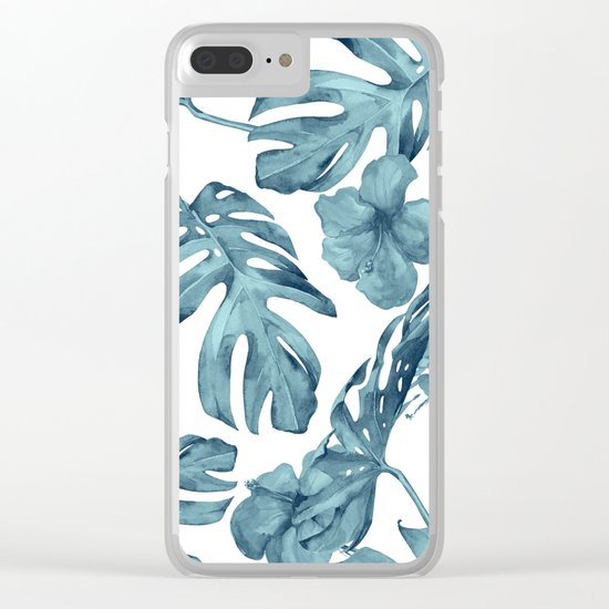 Teal Blue Tropical Palm Leaves Flowers Clear iPhone Case