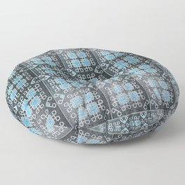 Blue and White Mosaic Kolam Floor Pillow