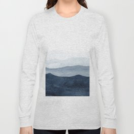 Indigo Abstract Watercolor Mountains Long Sleeve T-shirt