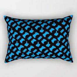 Gamer - Aqua on Black Rectangular Pillow