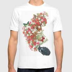Make love not war - by Ashley Rose Standish White MEDIUM Mens Fitted Tee