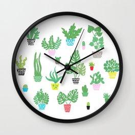 tiny happy house plants Wall Clock