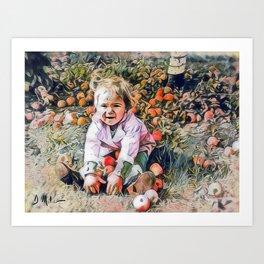 Girl with Apples Art Print