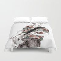 niall Duvet Covers featuring Floral Niall by Coconut Wishes
