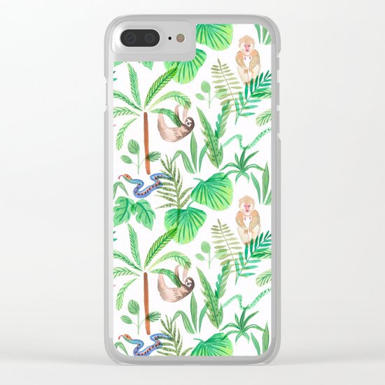 jungle lifestyle pattern Clear iPhone Case