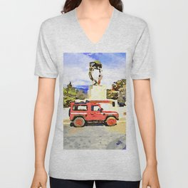 L'Aquila: red cars and fountain  Unisex V-Neck