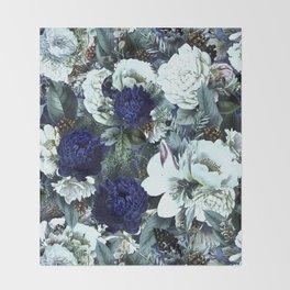 Vintage & Shabby Chic - Blue Winter Roses Throw Blanket