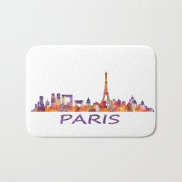 París City Skyline HQ Watercolor Bath Mat
