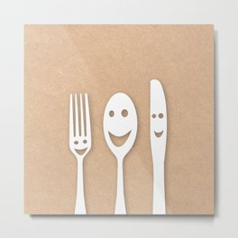 Happy fork, spoon and knife Metal Print