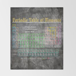 Periodic table throw blankets society6 old school periodic table of elements chalkboard style throw blanket urtaz Choice Image