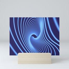 Elegant glowing blue curved spiral lines. Mini Art Print