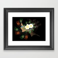Magnolias and Peacock's Feathers  Framed Art Print