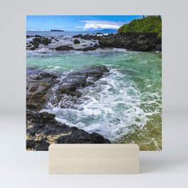 Emerald Tropical Scenic Surf Waves With Turquoise Sky Mini Art Print