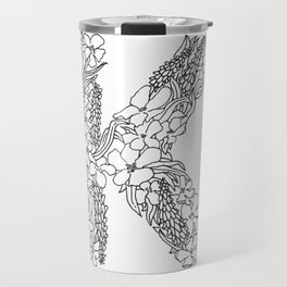 Floral Type - Letter K Travel Mug