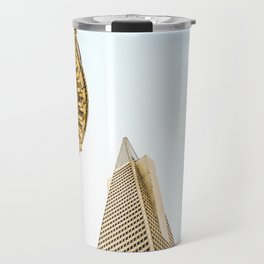 pyramid building and modern building and vintage style building at San Francisco, USA Travel Mug