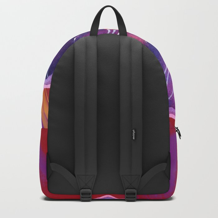 Purple Flower on Red Backpack
