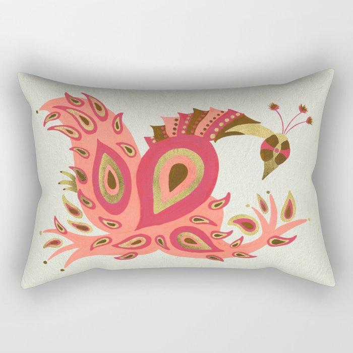 Peacock – Rose & Gold Rectangular Pillow