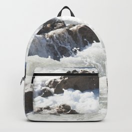 White water, dark rocks Backpack