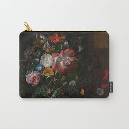 Rachel Ruysch - Roses, Convolvulus, Poppies and Other Flowers in an Urn on a Stone Ledge Carry-All Pouch