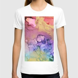 Colorful Abstract Ink Swirls with Gold Marble T-shirt