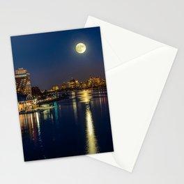 Moon light city of Boston Stationery Cards