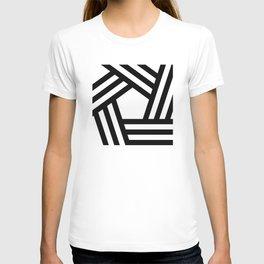 Black white stripey pentagon T-shirt