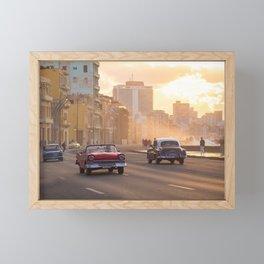 Sunset and classic cars in Havana | Travel photography Cuba Framed Mini Art Print