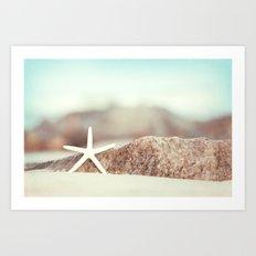 Starfish Beach Photography, Aqua Coastal Seashore Photo Art Print