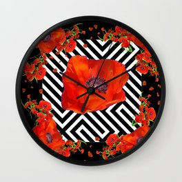 BLACK ORANGE POPPIES MODERN ART GARDEN Wall Clock
