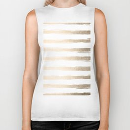 Simply Brushed Stripes White Gold Sands on White Biker Tank