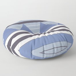Patchy Stormy Blues Floor Pillow