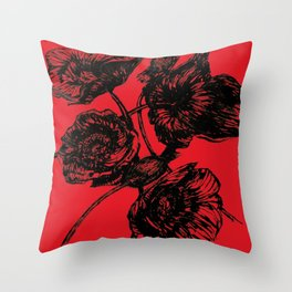 Poppies In Bloom - Red  Throw Pillow