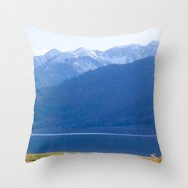 Blue Snow Capped Mountains Throw Pillow