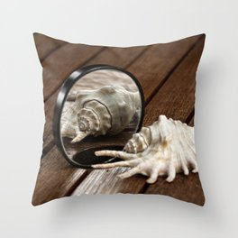 Vain Shelly, seashell in the front of the mirror Throw Pillow