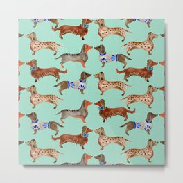 Dachshunds on Blue Metal Print