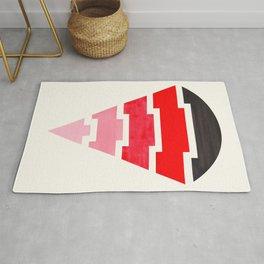 Futuristic Abstract Minimalist Mid Century Tribal Aztec Triangle Raindrop Red Geometric Pattern Rug