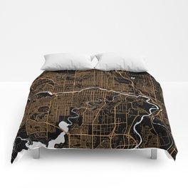 Calgary | Alberta | Canada - Minimalist City Map Comforters