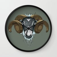 ram Wall Clocks featuring Ram by Stu Jones