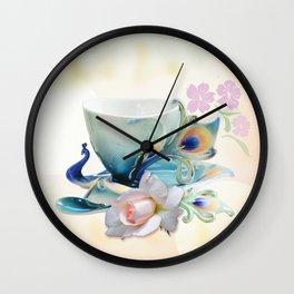 Romantic peacock cup of tea Wall Clock