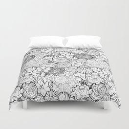 Clean & bright white flowers Duvet Cover