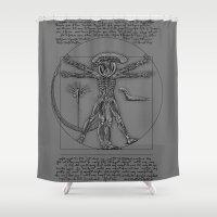 xenomorph Shower Curtains featuring Vitruvian Alien by leea1968