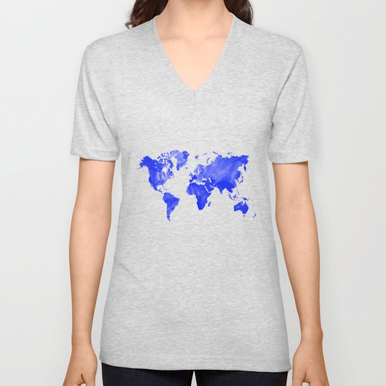 Blue watercolor world map by ummuhanuslu
