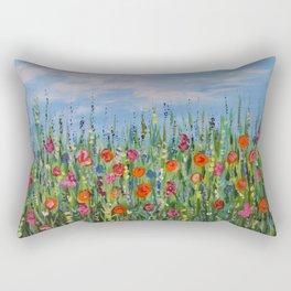 Summer Wildflowers, Landscape Art with Flowers Rectangular Pillow