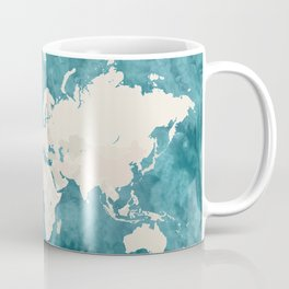 Teal watercolor and light brown world map Coffee Mug