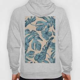 Island Vacay Hibiscus Palm Pale Coral Teal Blue Hoody