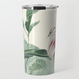 Tulip and a Poppy Vintage Botanical Art Travel Mug